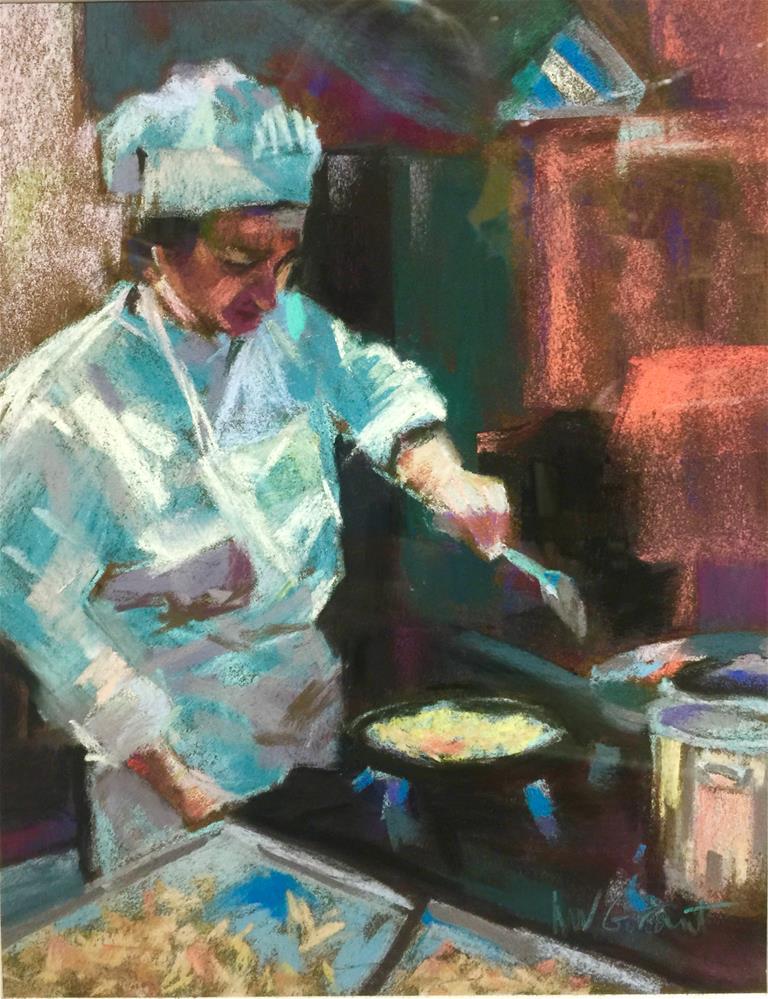 """Preparing the Pasta"" original fine art by Michelle Wells Grant"