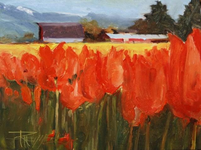 """""""Tulip Farm  LaConnor flower field, landscape oil painting by Robin WeissTulip Farm"""" original fine art by Robin Weiss"""