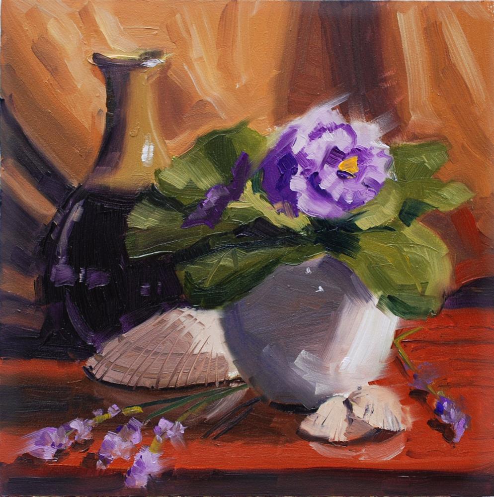 """African Violets and Lavender"" original fine art by Susan McManamen"