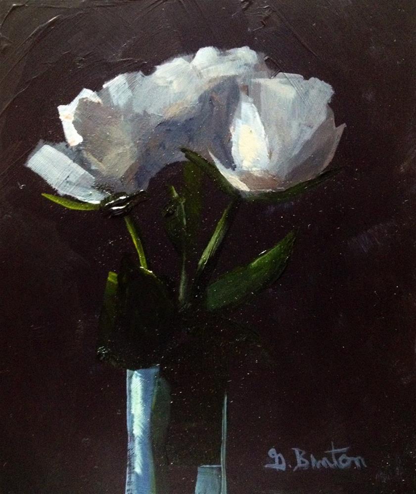 """White Roses and Bud Vase"" original fine art by Gary Bruton"