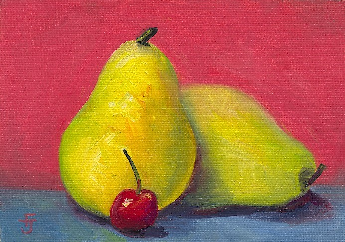 """Two Pears and a Cherry"" original fine art by Francine Dufour~Jones"