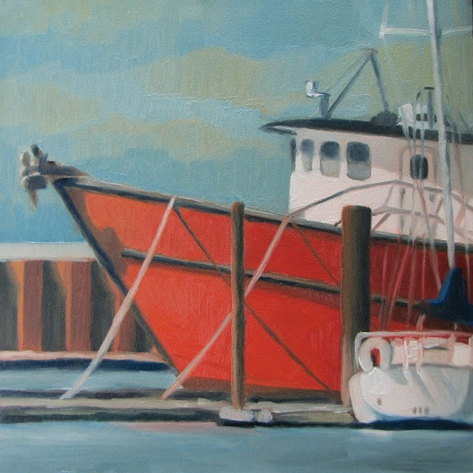"""Red Fishing Boat"" original fine art by Nora Bergman"