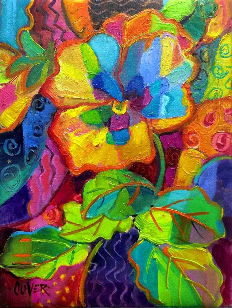 """""""Pansy Patterns - day 25 in the Challenge"""" original fine art by Julie Ford Oliver"""