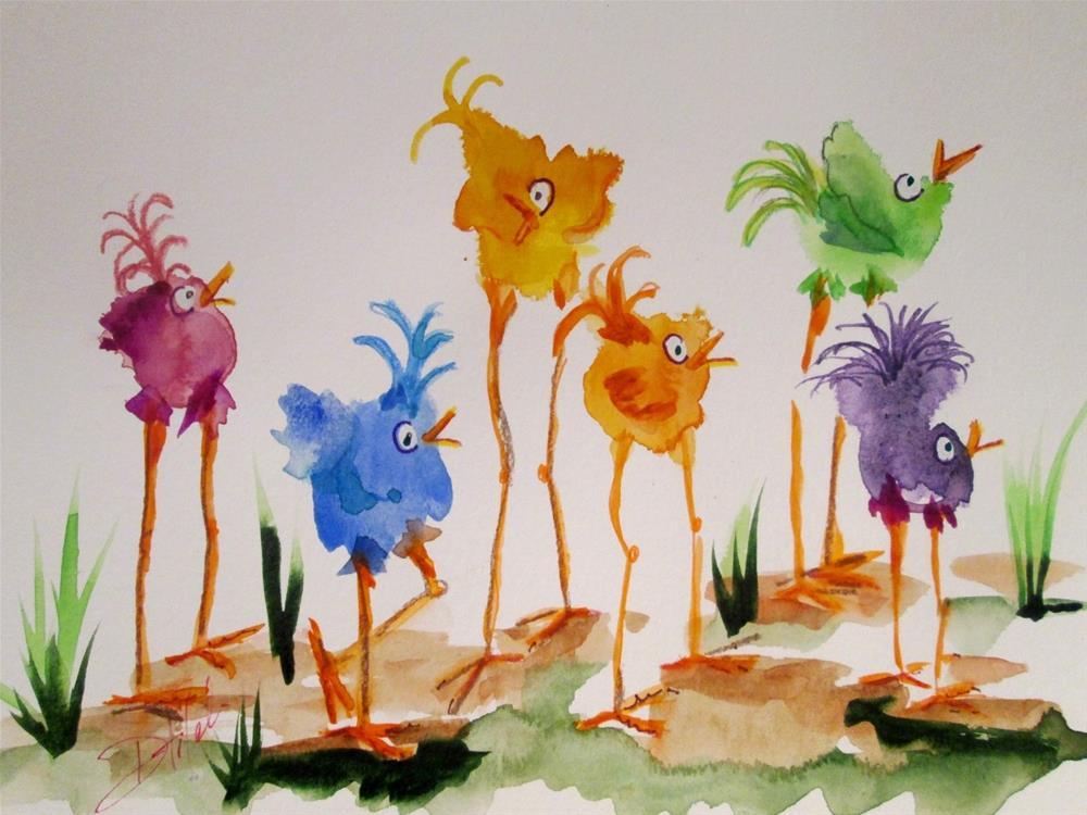 """Colorful Long Legged Birds"" original fine art by Delilah Smith"