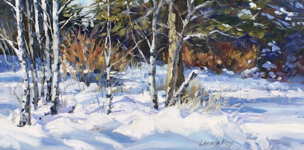 """Aspen Snow Shadows"" original fine art by Leona Fox"