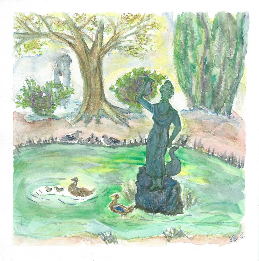 """Avignon Fountain"" original fine art by Laura Denning"