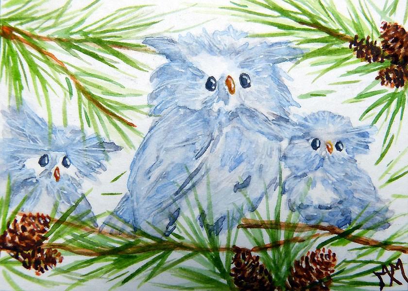 """""""Owl Babies"""" original fine art by Monique Morin Matson"""
