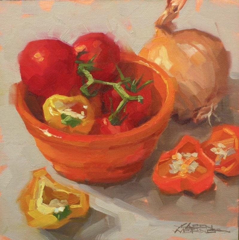 """Pepper Pop"" original fine art by Karen Werner"