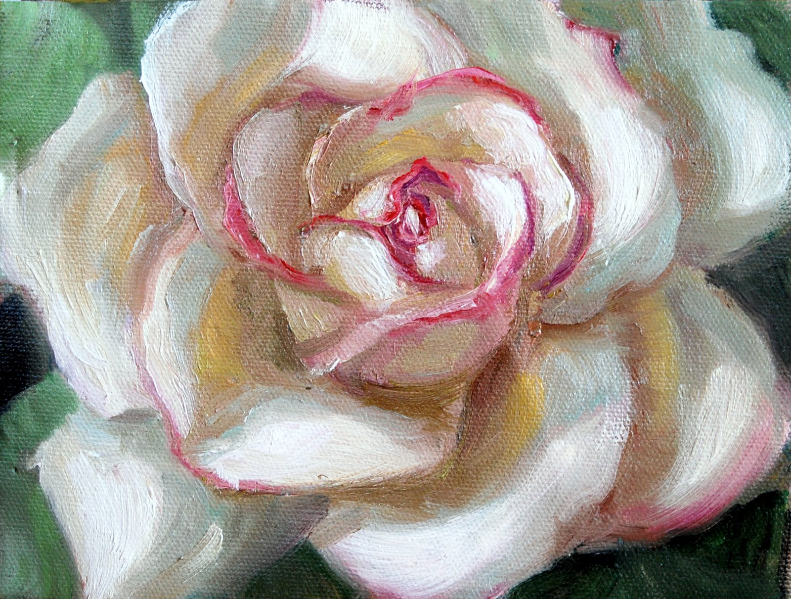 """Rose in the Style of Georgia O'Keeffe"" original fine art by Julie Ford Oliver"