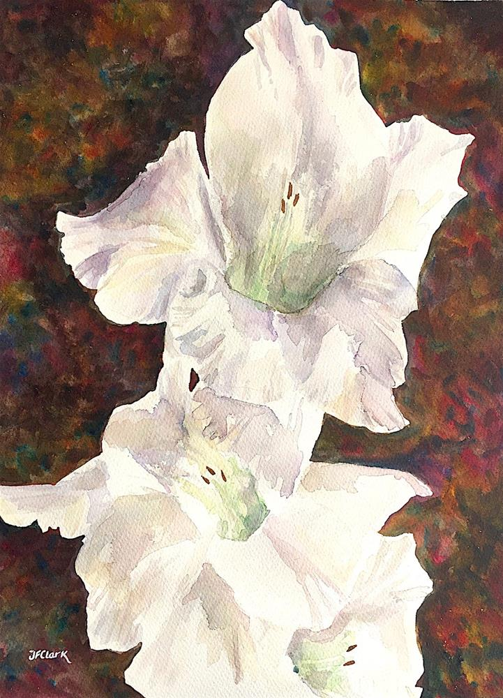 """White Gladiola blossoms"" original fine art by Judith Freeman Clark"
