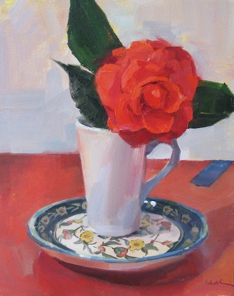 """Red Camellia in a Teacup"" original fine art by Sarah Sedwick"