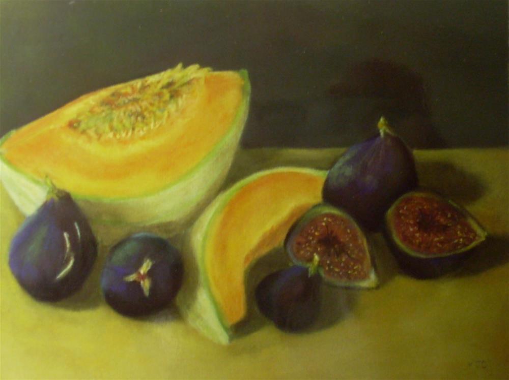 """Figs with Melon"" original fine art by Karen Collins"