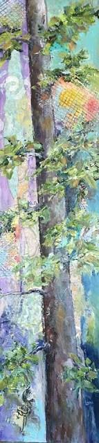 """SLICE OF PINE ORIGINAL MIXED MEDIA PAINTING OF A PINE TREE © SAUNDRA LANE FINE ART"" original fine art by Saundra Lane Galloway"