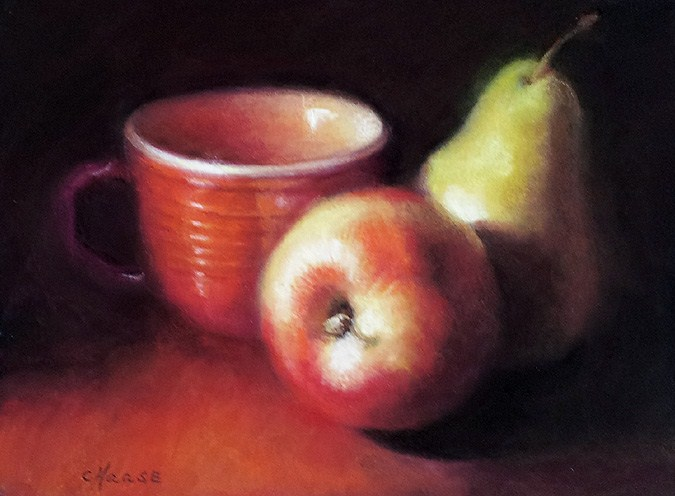 """Apple, Pear and Cup"" original fine art by Cindy Haase"