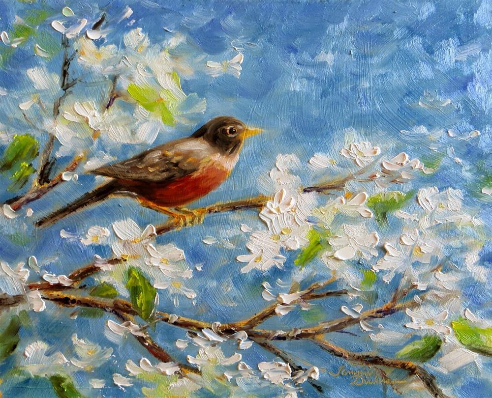 """Robin in the Pear Tree"" original fine art by Tammie Dickerson"