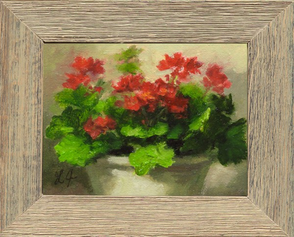 """Geraniums, framed miniature"" original fine art by Linda Jacobus"