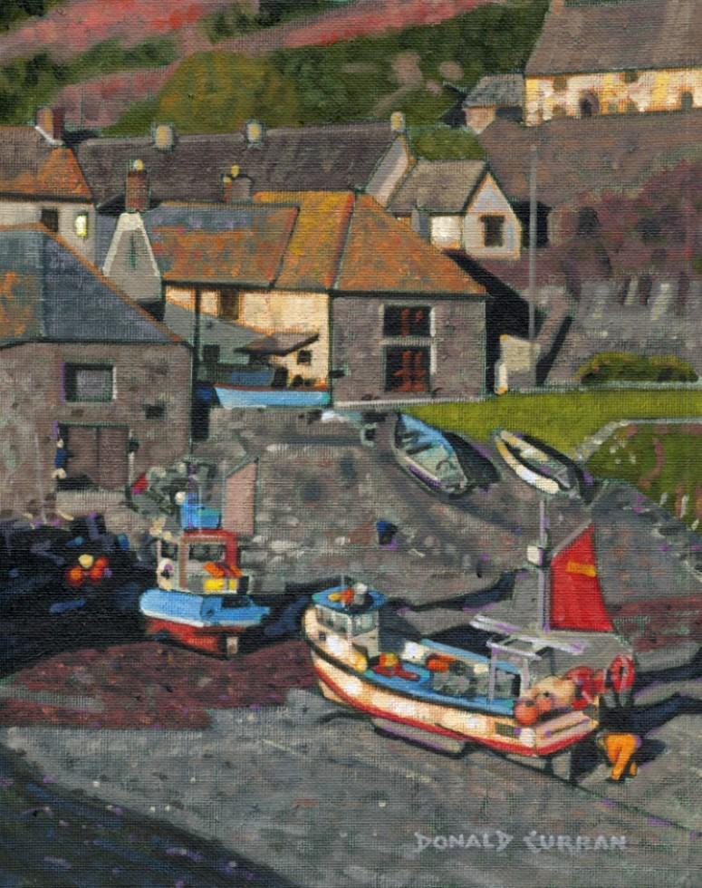 """English Fishing Town"" original fine art by Donald Curran"