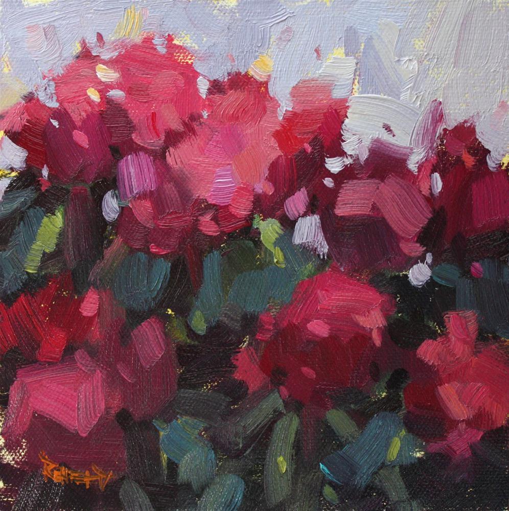 """""""Pink Rhodies"""" original fine art by Cathleen Rehfeld"""