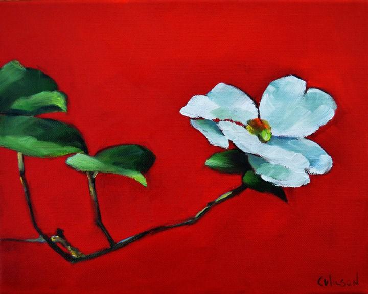 """Dogwood on Red"" original fine art by Cheryl Wilson"