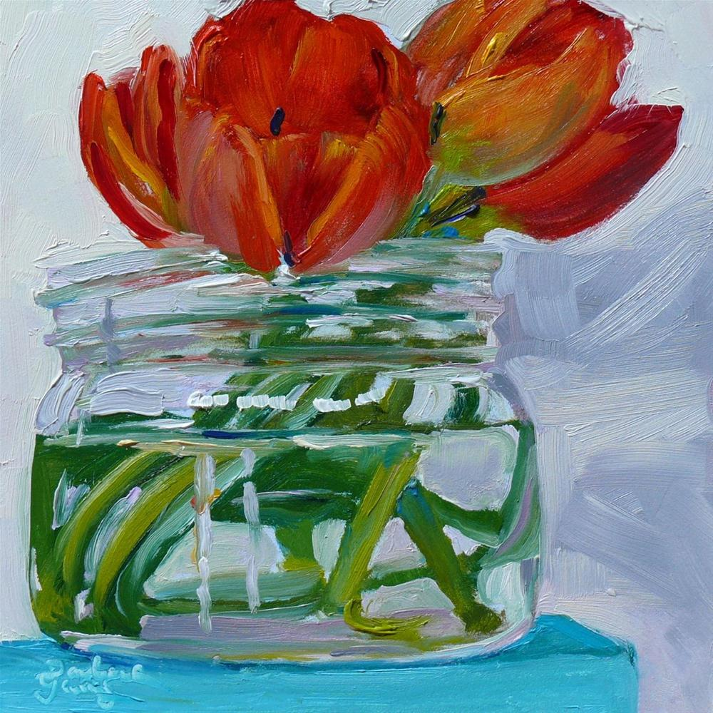 """""""637 Red Tulips"""" original fine art by Darlene Young"""
