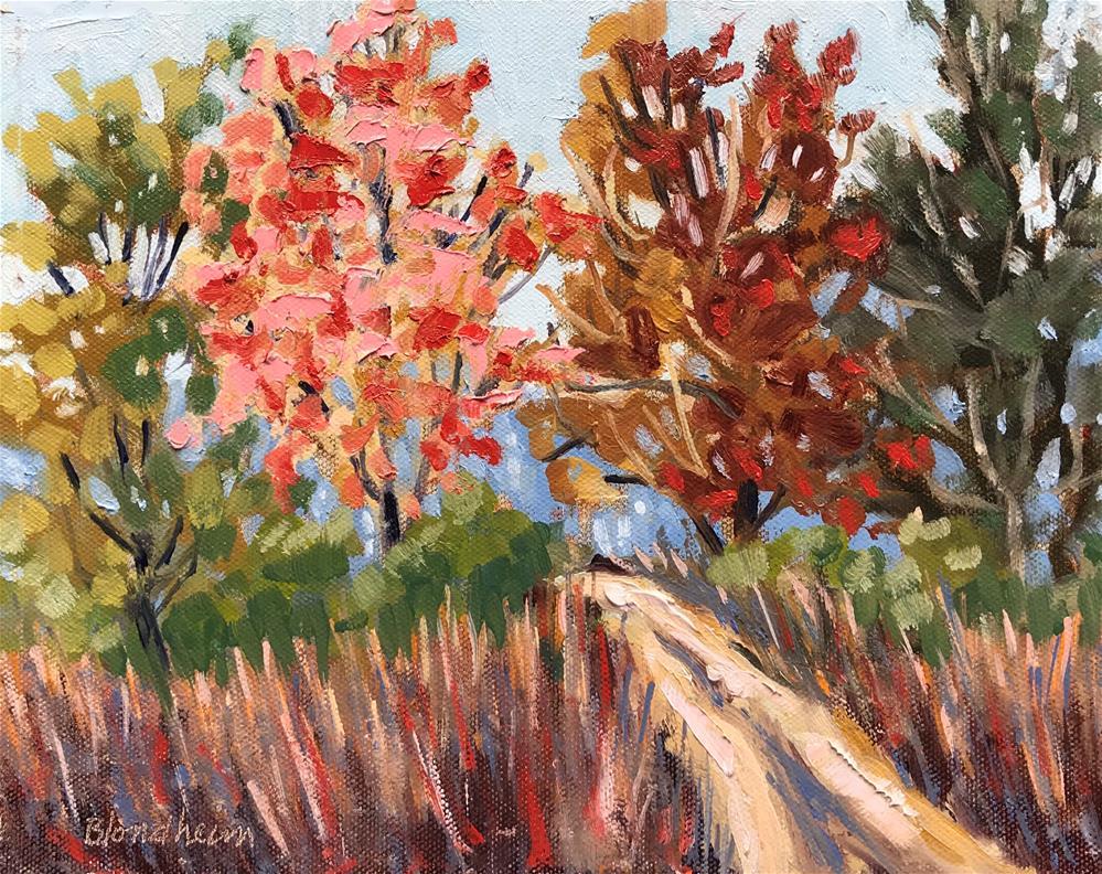 """Sale Painting Fall Path"" original fine art by Linda Blondheim"