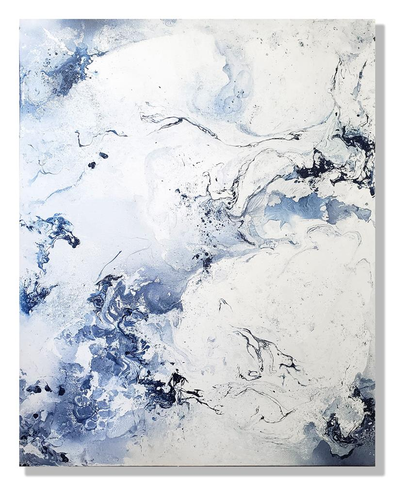 """NAVY BLUE & WHITE"" original fine art by Sunny Avocado"