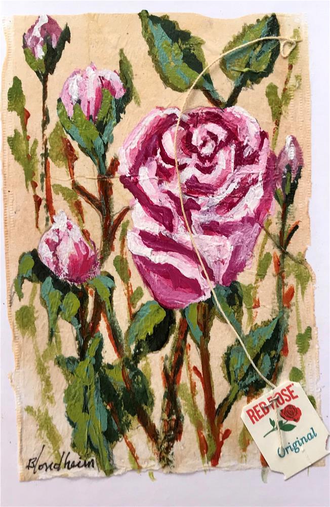 """""""Tea Bag Painting Roses"""" original fine art by Linda Blondheim"""