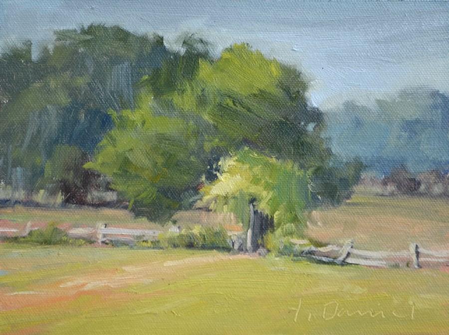 """Arbor Fence - Plein Air Demo"" original fine art by Laurel Daniel"