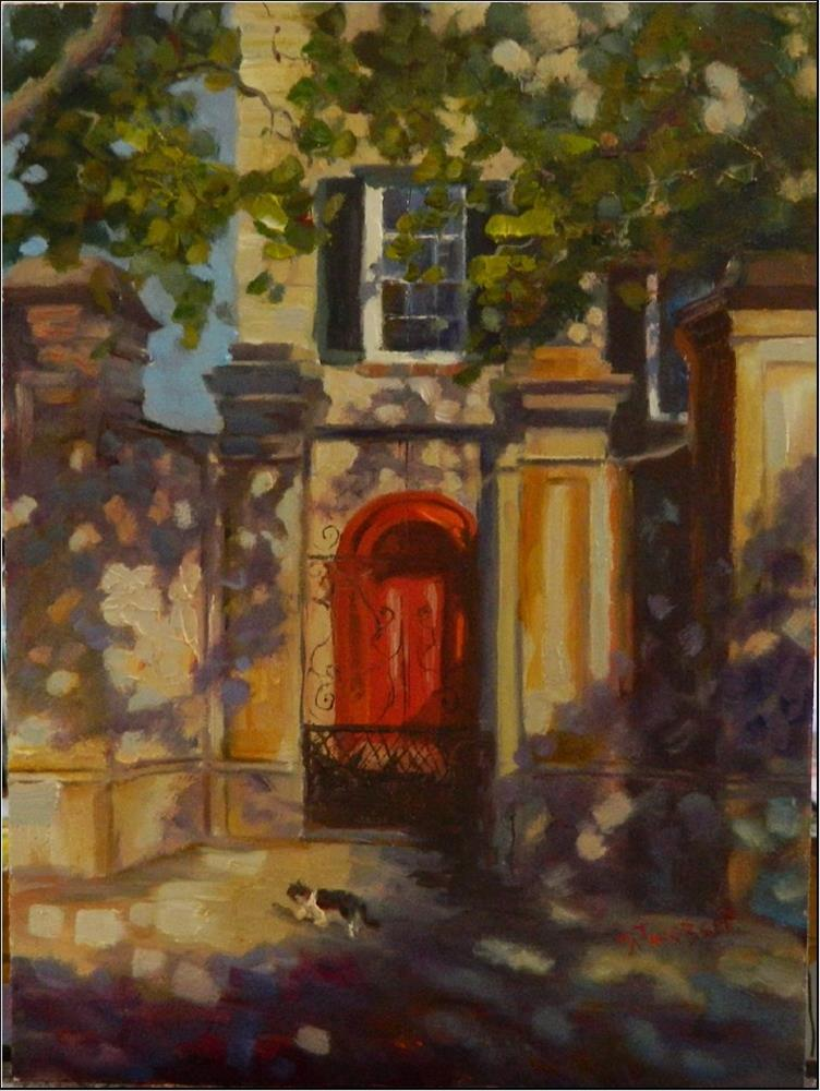 """Red Door, Legare Street, 12x16, oil on board, Charleston, South Carolina scenes, architecture, hom"" original fine art by Maryanne Jacobsen"