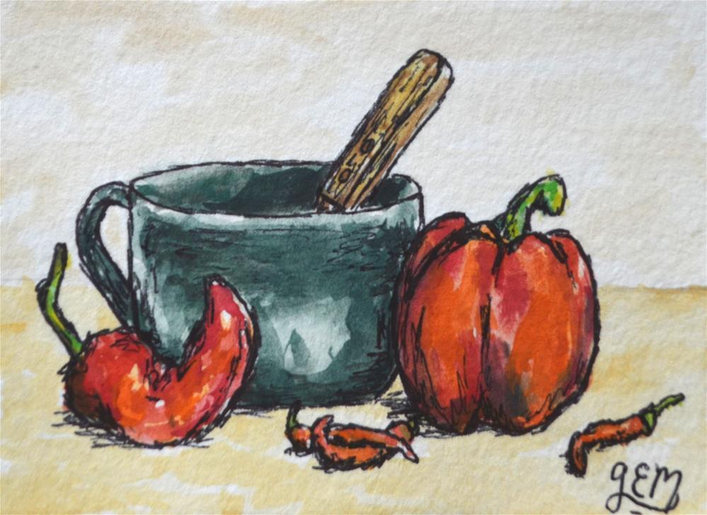 """Peppers Watercolor ACEO"" original fine art by Gloria Ester"