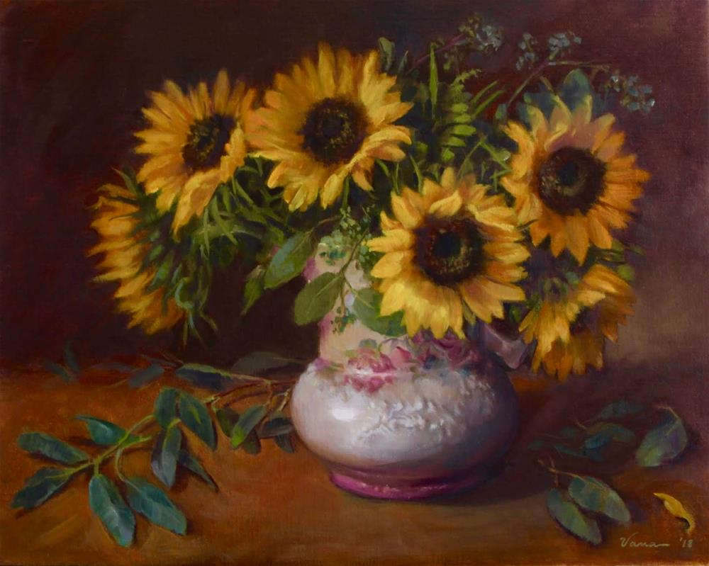 """Sunflowers in a Vintage Pitcher"" original fine art by Vana Meyers"