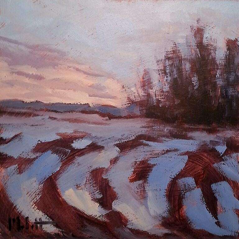 """Winter Landscape Sunday in January Original Oil Painting"" original fine art by Heidi Malott"