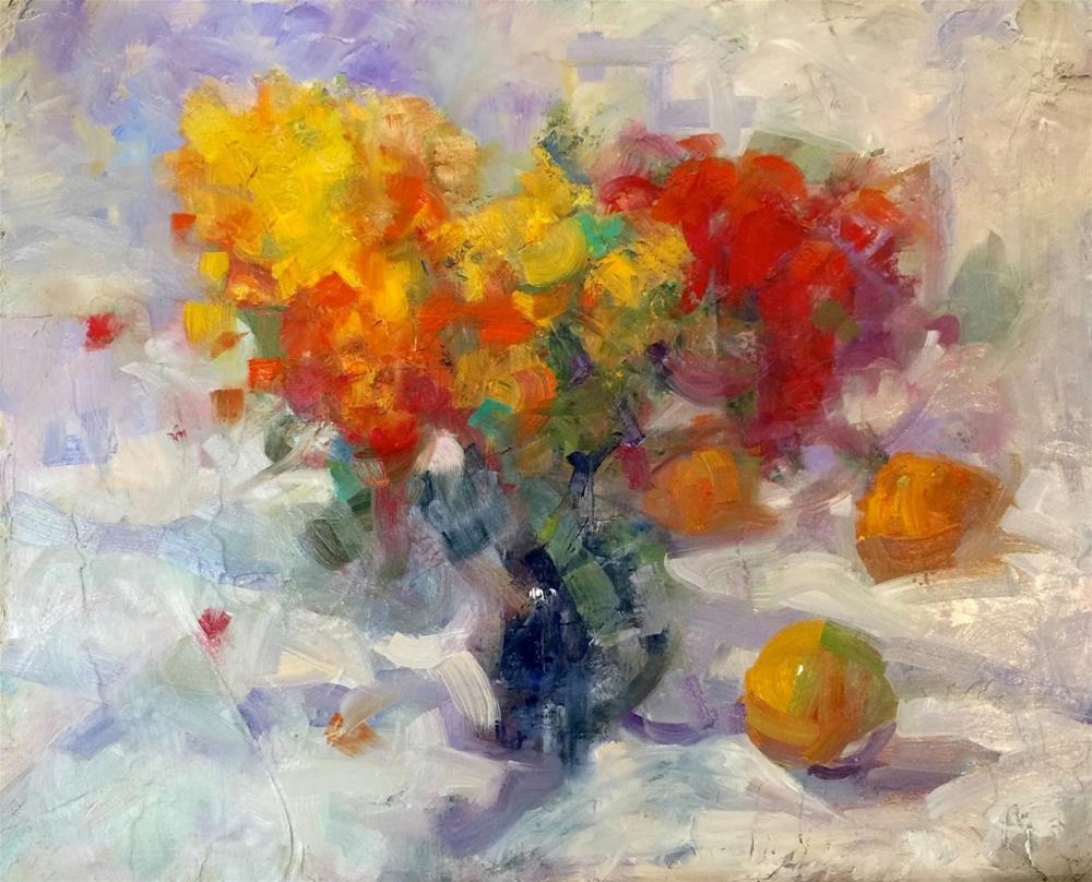 """""""Flowers and Grapefruits, 20x16"""" original fine art by Ann Feldman"""