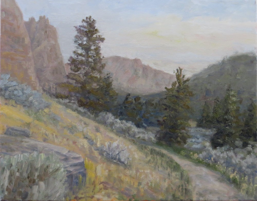 """River Trail Below Smith Rock"" original fine art by Richard Kiehn"
