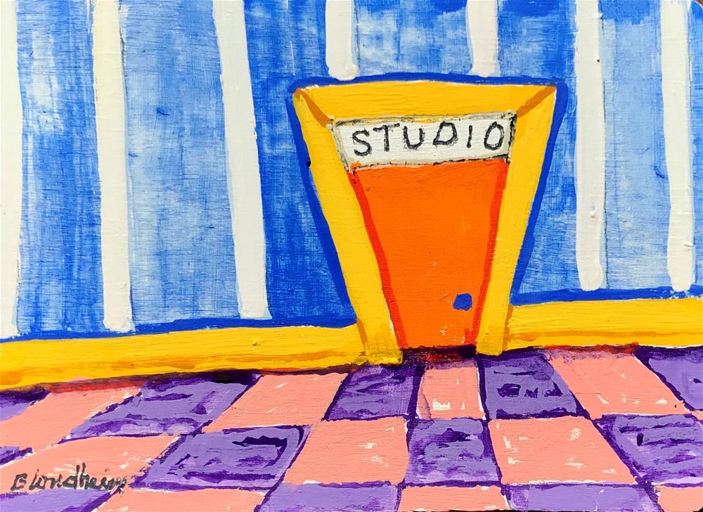 """""""Studio Cartoons Orange Door"""" original fine art by Linda Blondheim"""