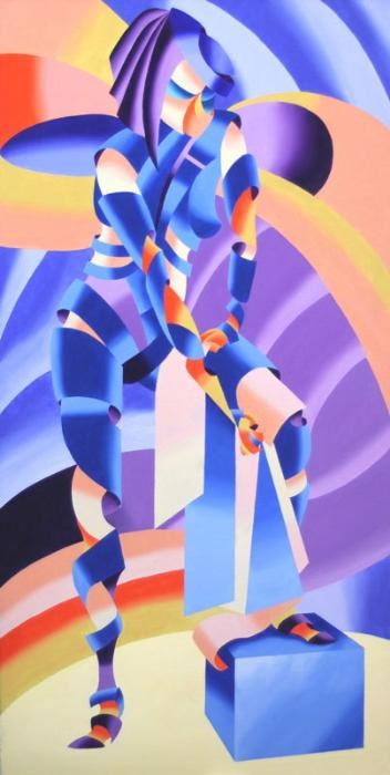 """Mark Webster - Shandra 323 - Abstract Geometric Figurative Oil Painting"" original fine art by Mark Webster"
