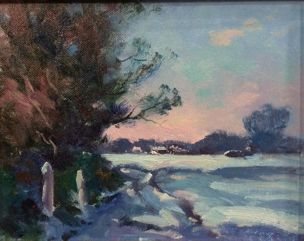 """""""Snow on The Common"""" original fine art by John Shave"""