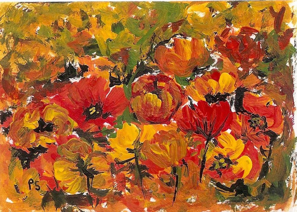 """ACEO Poppy Field Poppies Flowers Gardens Floral Abstract by Penny Lee StewArt"" original fine art by Penny Lee StewArt"