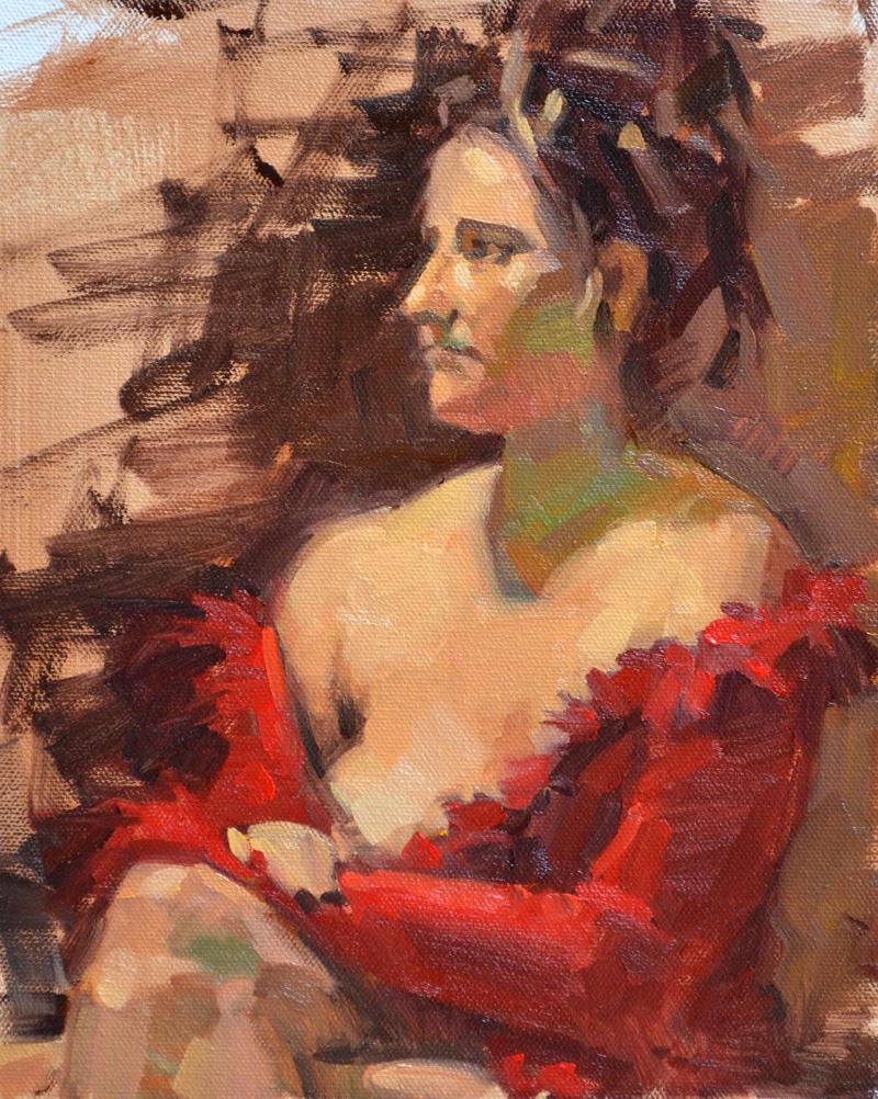 """Red Sweater"" original fine art by Carol Marine"