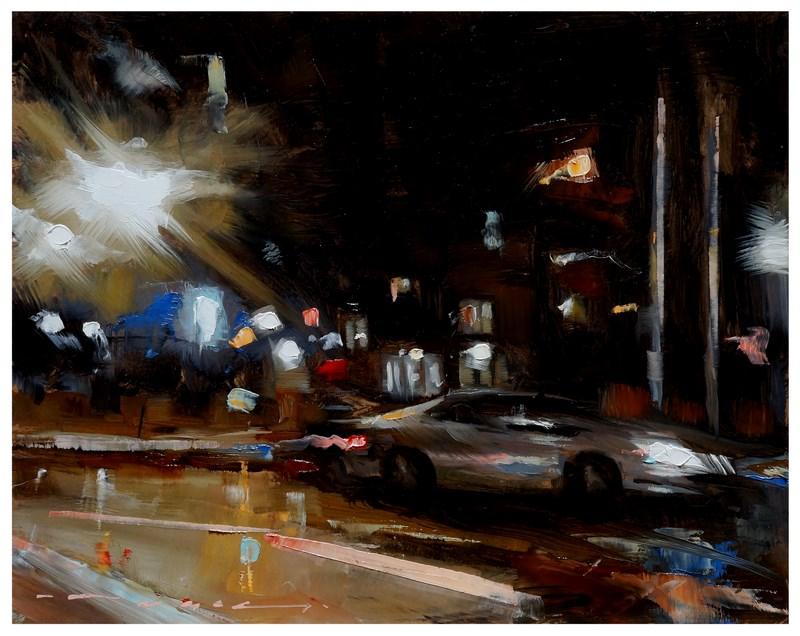"""__23:17__ Oil on board 8x10"" original fine art by Angel Angelov"