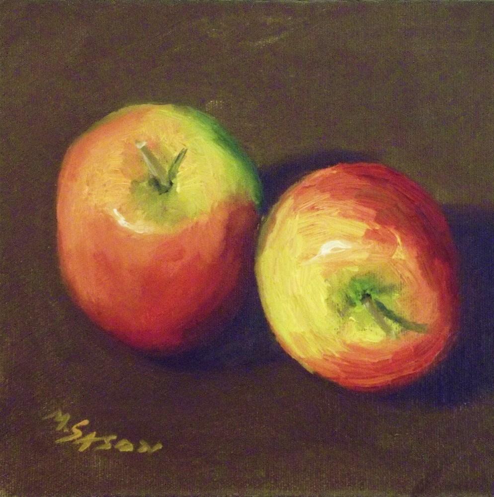 """Two apples"" original fine art by Michael Sason"