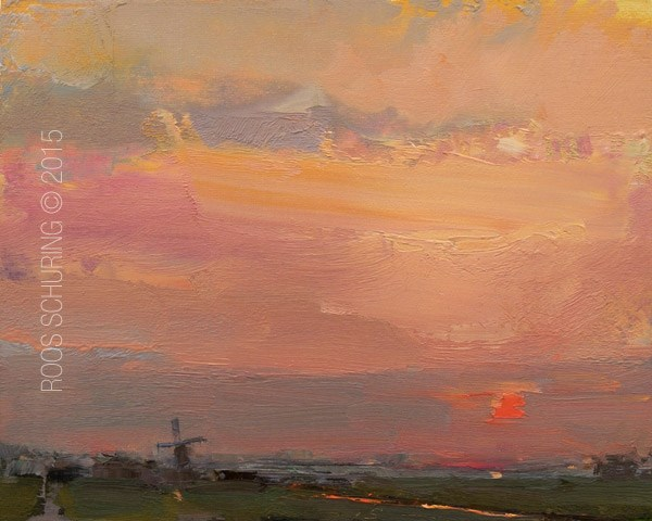 """""""Sunrise Red Sun and Ditch"""" original fine art by Roos Schuring"""