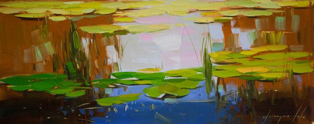 """Water Lilies Handmade oil Painting"" original fine art by V Y"