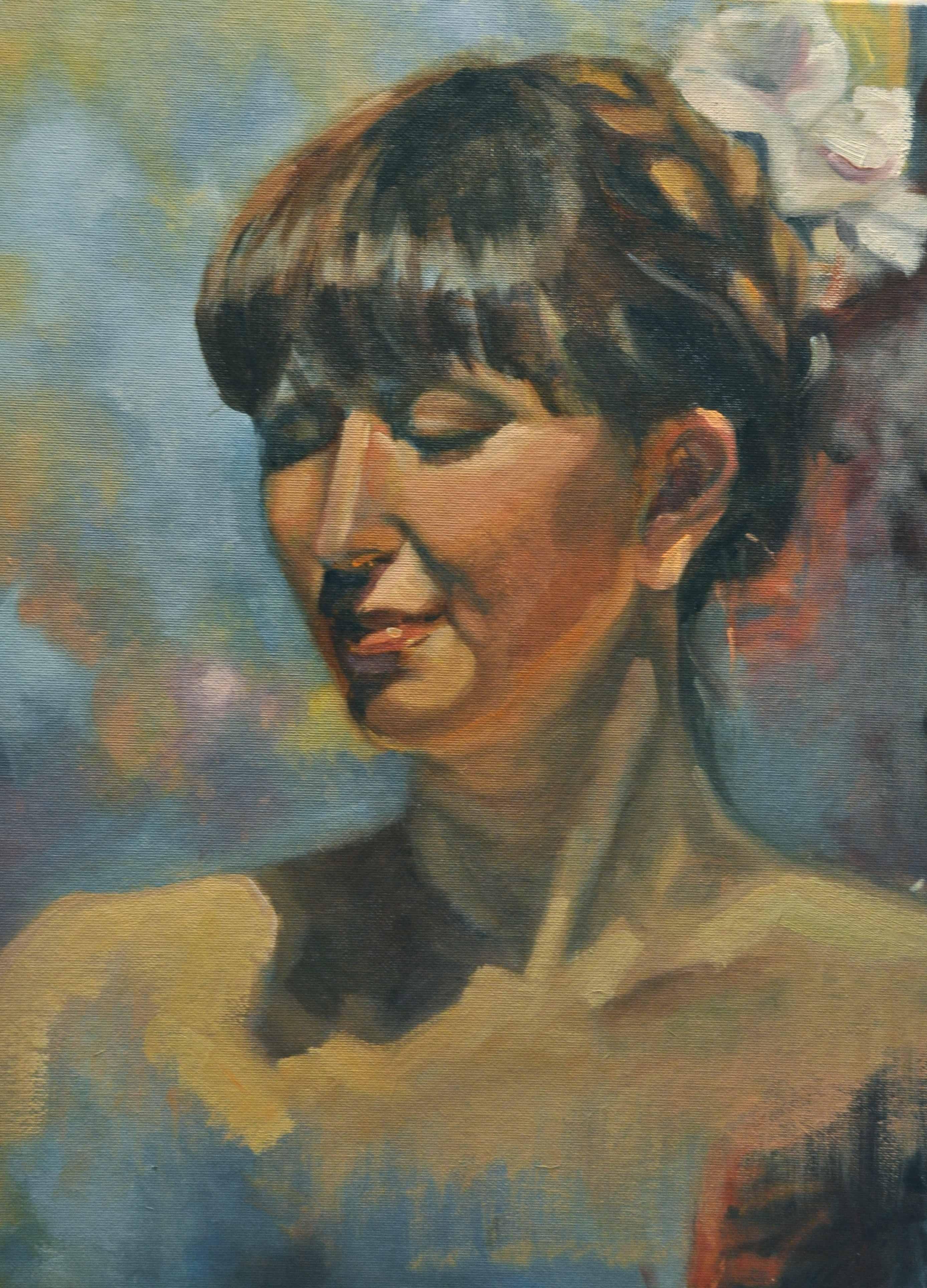 """""""Chanting oil/board  14x18"""" original fine art by Emiliya Lane"""