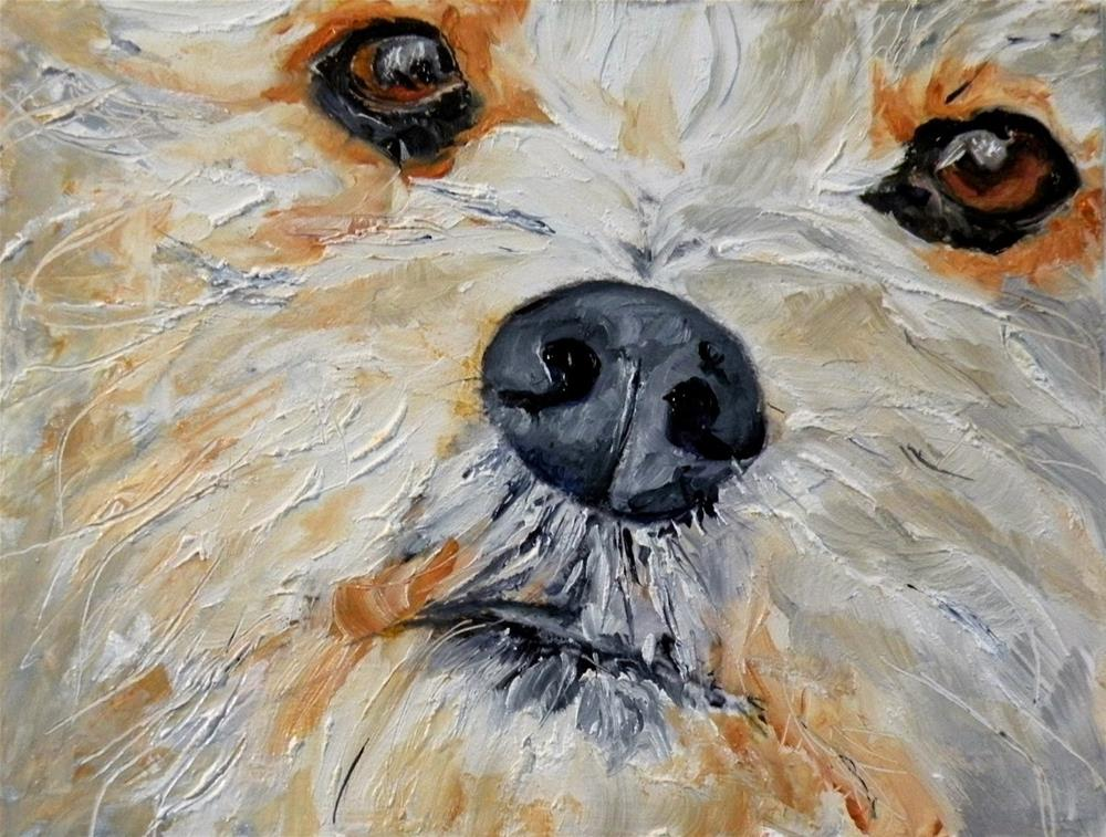 """""""PUPPY FACE ORIGINAL OIL FOR MY ETSY SHOP; AND...A NEW ITEM!  © SAUNDRA LANE GALLOWAY"""" original fine art by Saundra Lane Galloway"""