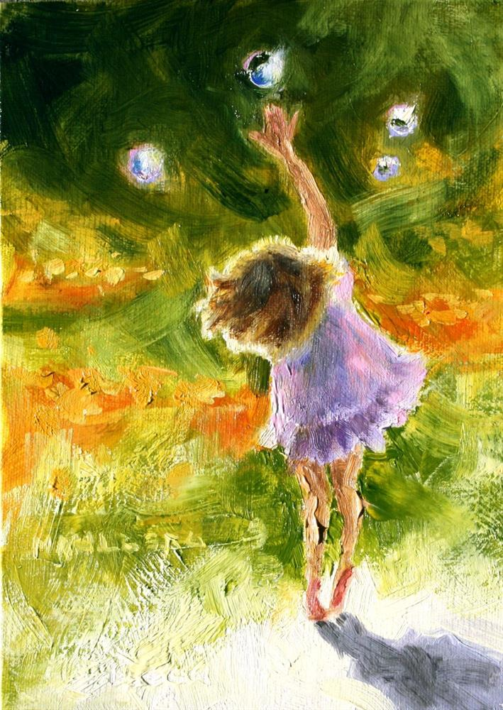 """""""Girl With Bubbles"""" original fine art by Cynthia Mahlberg"""