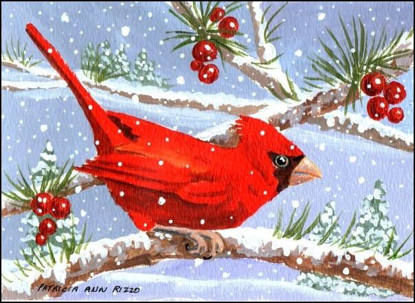 """Chatty Cardinal"" original fine art by Patricia Ann Rizzo"