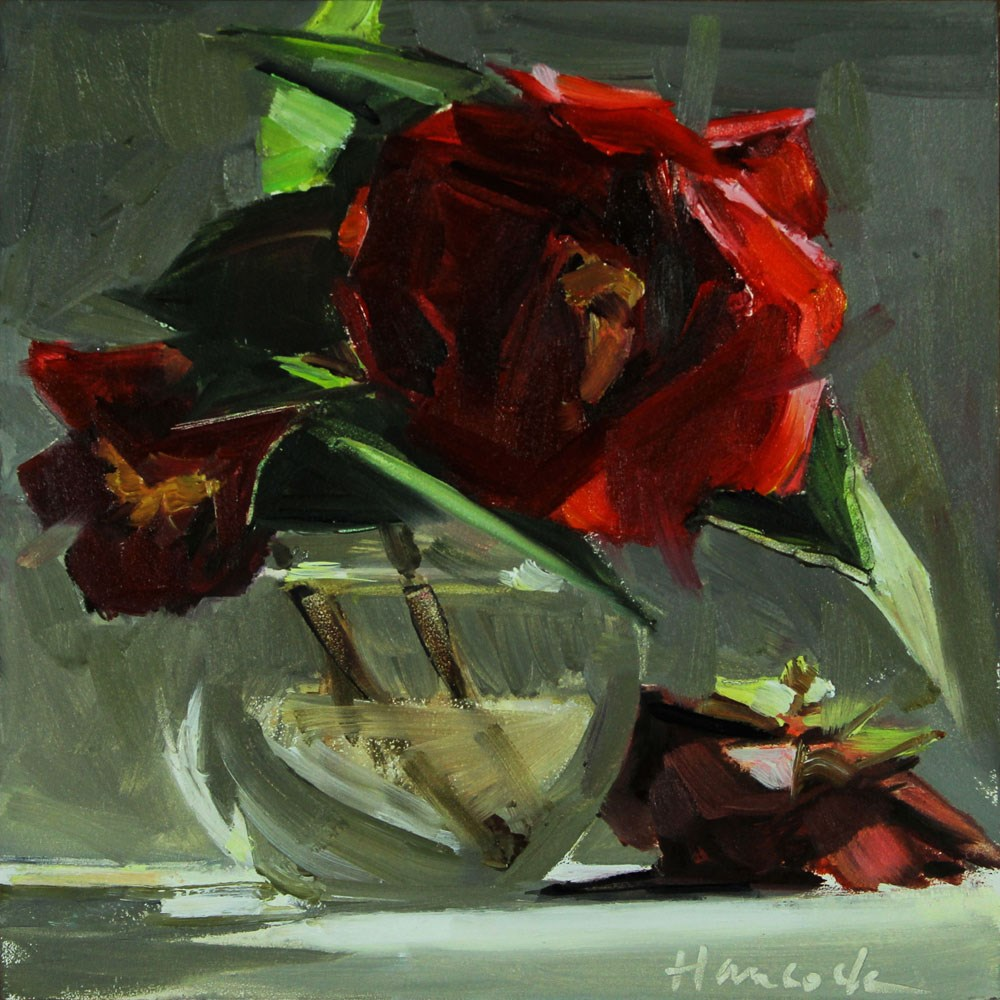 """Red Camellia on the Table"" original fine art by Gretchen Hancock"