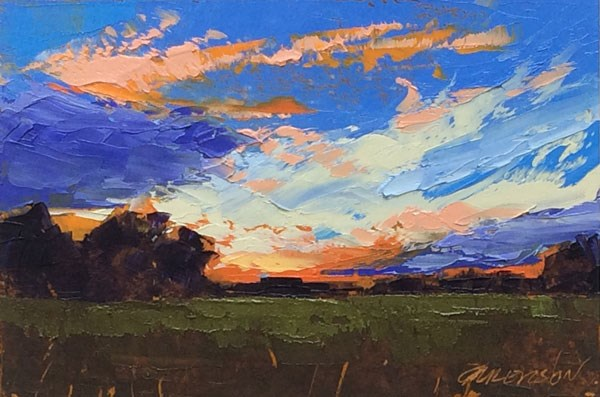 """Minervaville, Fall Sunset"" original fine art by Mary Gilkerson"