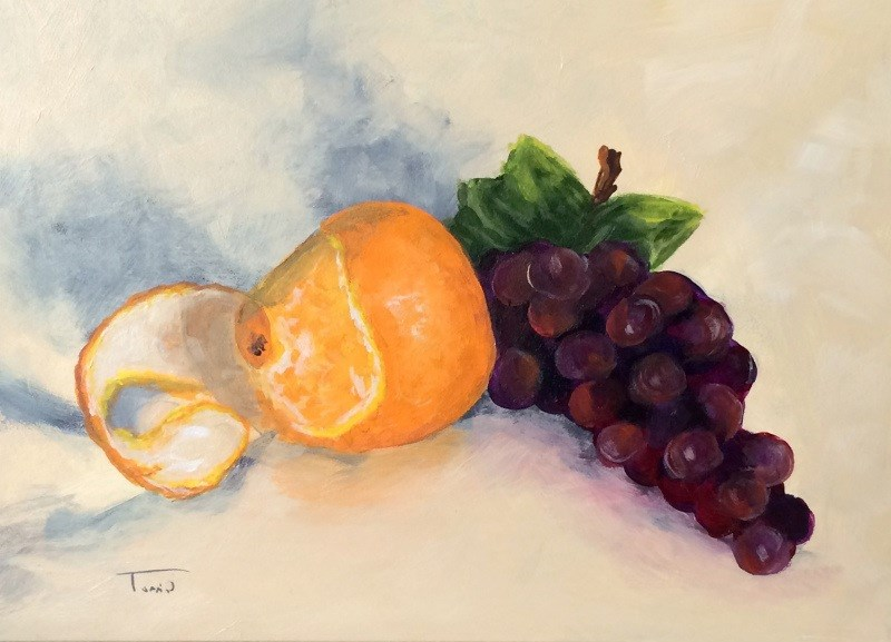"""""""Orange and Grapes"""" original fine art by Torrie Smiley"""
